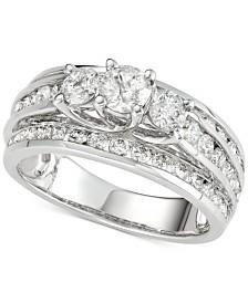 Diamond Three-Stone Multi-Row Engagement Ring (2 ct. t.w.) in 14k White Gold