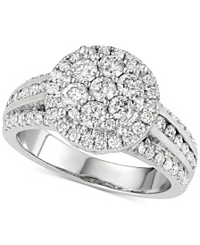 Diamond Cluster Multi-Row Engagement Ring (1-1/2 ct. t.w.) in 14k White Gold