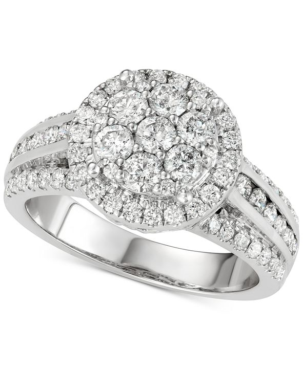 Centennial Diamond Cluster Multi-Row Engagement Ring (1-1/2 ct. t.w.) in 14k White Gold