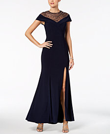 Xscape Embellished Illusion Slit Gown