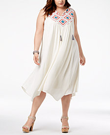 John Paul Richard Plus Size Embroidered-Yoke Dress