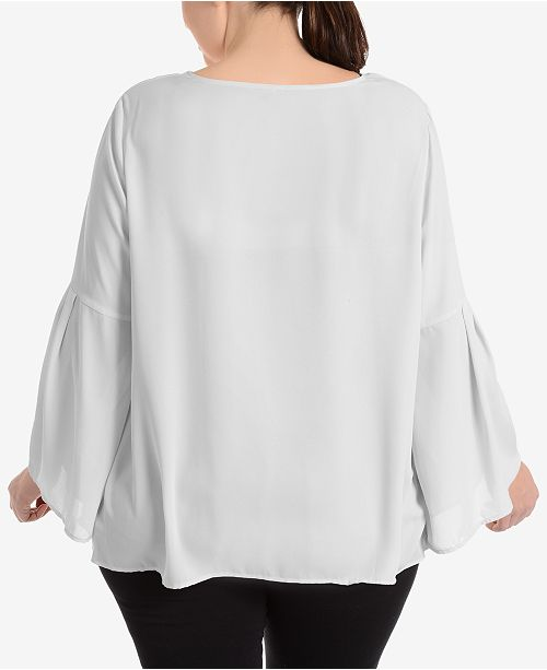 55d3944bf0a NY Collection Plus Size Tie-Front Bell-Sleeve Blouse - Tops - Plus ...