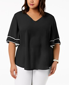 NY Collection Plus Size Ruffle Sleeve Blouse