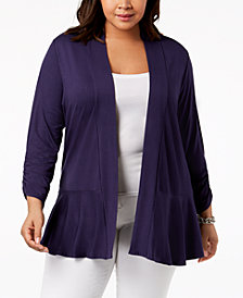 NY Collection Plus Size Peplum-Hem Sweater