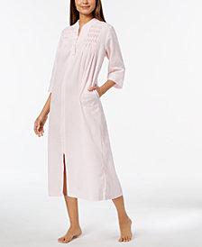 Miss Elaine Embroidered Seersucker Zip Robe