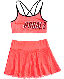 Ideology Graphic-Print Strappy-Back Sports Bra & Mesh Skort, Big Girls, Created for Macy's