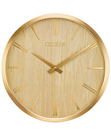 Citizen Gallery Wood & Gold-Tone Wall Clock
