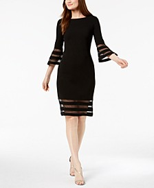 Petite Mesh-Detail Sheath Dress