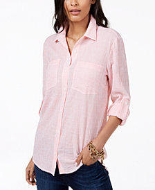 MICHAEL Michael Kors Petite Striped Button-Front Shirt