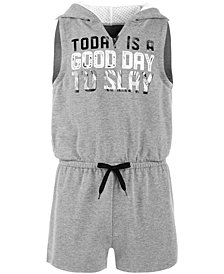 Ideology Big Girls Plus Graphic-Print Hooded Romper, Created for Macy's