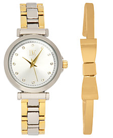 I.N.C. Women's Two-Tone Bracelet Watch 28mm Gift Set, Created for Macy's
