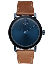 Men's Swiss BOLD Evolution Cognac Leather Strap Watch 40mm, Created for Macy's