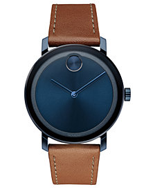 Movado Men's Swiss BOLD Evolution Cognac Leather Strap Watch 40mm, Created for Macy's