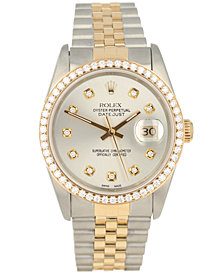 Pre-Owned Rolex Men's Swiss Automatic Datejust Jubilee Diamond (1 1/3 ct. t.w.) 18K Gold & Stainless Steel Bracelet Watch 36mm