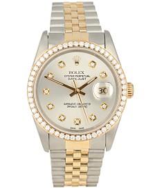 Pre-Owned Rolex Men's Swiss Automatic Datejust Jubilee Diamond (1 1/3 ct. t.w.) 18K Gold & Stainless Steel Bracelet Watch 36mm