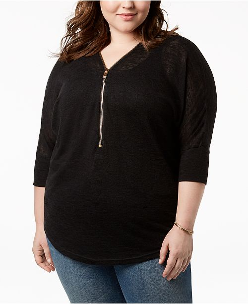 5a68de1f5aa7ac Say What  Trendy Plus Size Zip-Front Dolman-Sleeve Top   Reviews ...