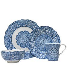222 Fifth Lyria Blue 16-Pc. Dinnerware Set, Service for 4
