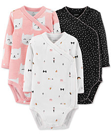 Carter's Baby Girls 3-Pc. Printed Cotton Bodysuits