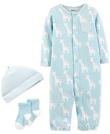 Carter's Baby Boys 3-Pc. Cotton Hat, Giraffe-Print Convertible Coverall & Socks Set