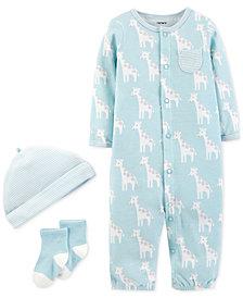 Carter's Baby Boys 3-Pc. Cotton Hat, Giraffe-Print Convertible Coverall & Socks Set