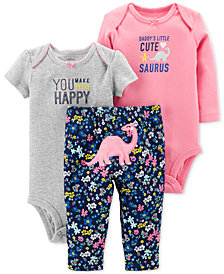 Carter's Baby Girls 3-Pc. Cotton Dinosaurs Bodysuits & Pants Set