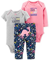 Carter s Baby Girls 3-Pc. Cotton Dinosaurs Bodysuits   Pants Set e3895518f