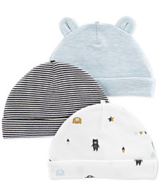 Carter's Baby Boys 3-Pack Printed Cotton Hats