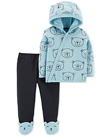 Carter's Baby Boys 2-Pc. Bear-Print Cotton Cardigan & Pants Set