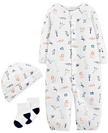 Carter's Baby Boys 3-Pc. Hat, Coverall & Socks Set