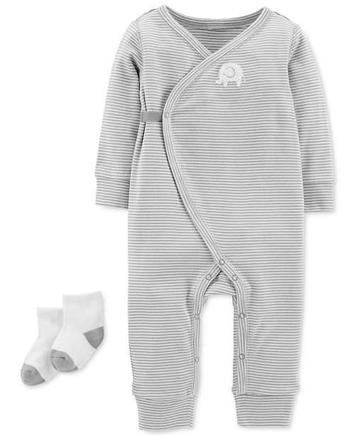 1148f8542 Carter s Baby Boys   Baby Girls 2-Pc. Side Snap Coverall   Socks Set ...