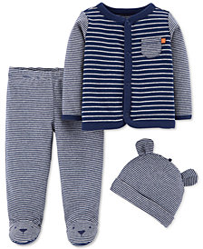 Carter's Baby Boys 3-Pc. Cotton Cardigan, Pants & Hat Set