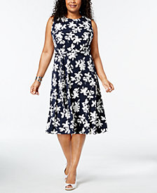 Charter Club Plus Size Floral-Print Midi Dress, Created for Macy's