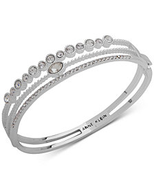 Anne Klein Silver-Tone Crystal Triple-Row Bangle Bracelet, Created for Macy's