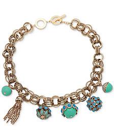 "Anne Klein Gold-Tone Pavé, Stone & Chain Tassel Multi-Link 17"" Collar Necklace"