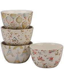 Certified International Beautiful Romance Ice Cream Bowls, Set of 4