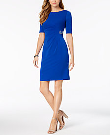 Jessica Howard Ruched Embellished Dress, Regular & Petite
