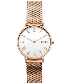 Skagen Women's Hald Rose Gold-Tone Silk-Mesh Bracelet Watch 34mm