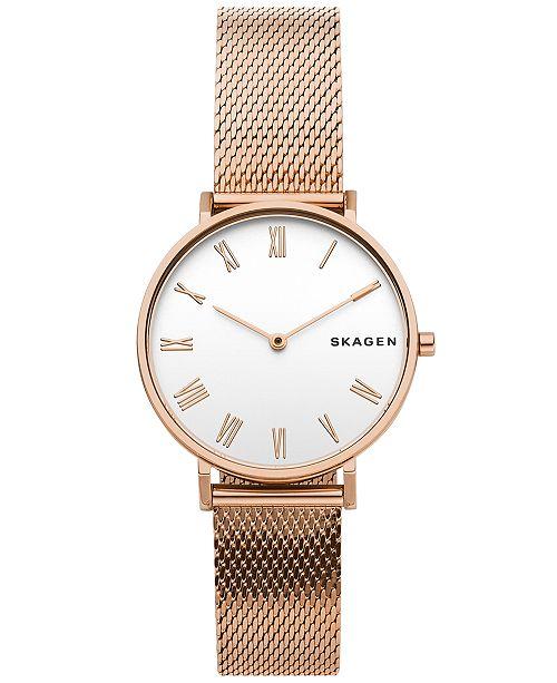 Skagen Women's Hald Rose Gold-Tone Silk-Mesh Bracelet Watch 34mm