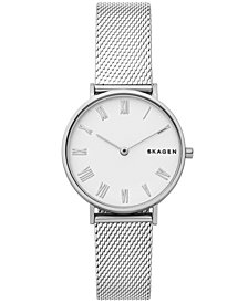 Skagen Women's Hald Silver-Tone Silk-Mesh Bracelet Watch 34mm
