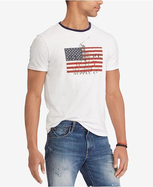 bcdeaa0dc4c1d4 Polo Ralph Lauren Men's American Flag Print Custom Slim Fit T-Shirt ...