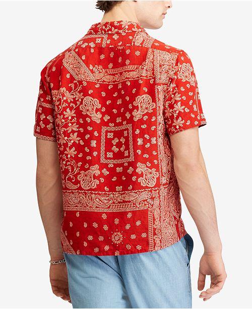 3c5d694bc ... Polo Ralph Lauren Men's Bandana Print Classic-Fit Short-Sleeve Shirt ...