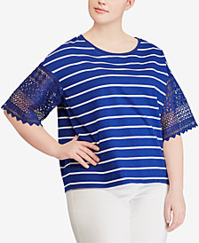 Lauren Ralph Lauren Plus Size Striped Cotton Top