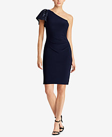 Lauren Ralph Lauren One-Shoulder Flutter-Sleeve Dress