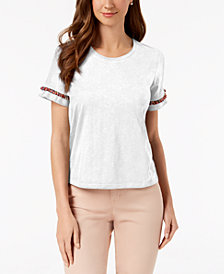 Style & Co Fringe Crew-Neck T-Shirt, Created for Macy's