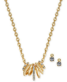 Charter Club Gold-Tone 2-Pc. Set Multi-Ring Pendant Necklace and Crystal Stud Earrings, Created for Macy's