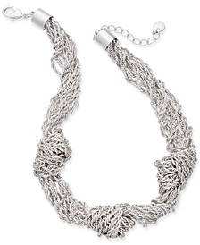 """Silver-Tone Multi-Chain Knotted Statement Necklace, 17"""" + 2"""" extender, Created for Macy's"""