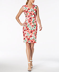 Calvin Klein Printed V-Neck Sheath Dress