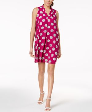 Vince Camuto Pleated Floral-Print Shift Dress 6865405