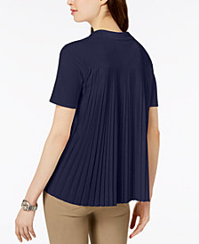 Lacoste Pleat-Back V-Neck Top