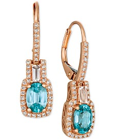 Le Vian® Blueberry Zircon (2-1/5 ct. t.w.) & Diamond (1/4 ct. t.w.) Drop Earrings in 14k Rose Gold